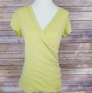 Cabi Yellow Short Sleeve Ruching Top V Neck